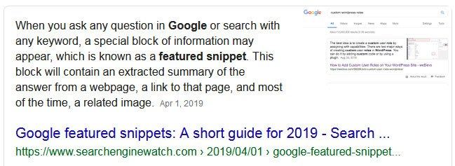 google featured snippet