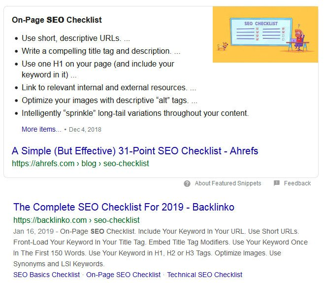 list featured snippets