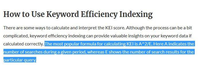 keyword efficiency index formula