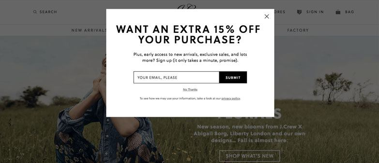 exit-intent discount popups