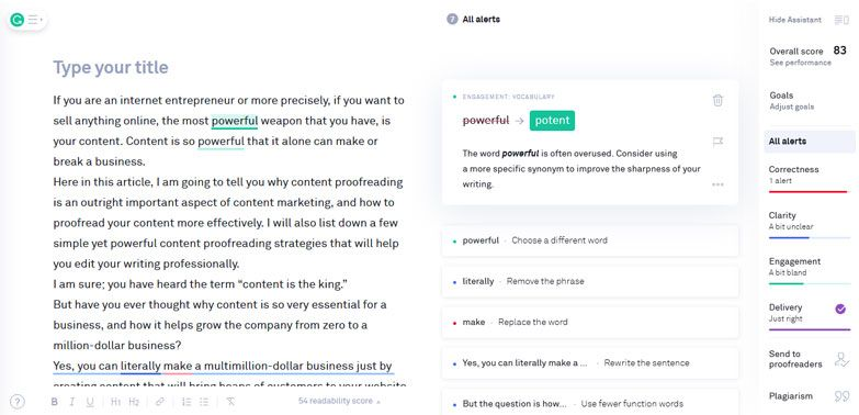content proofreading tool grammarly