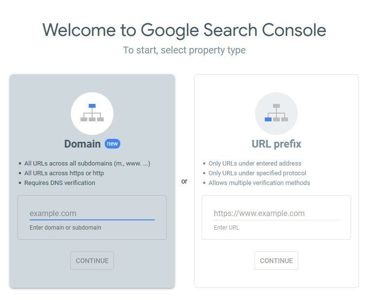 google search console add https property