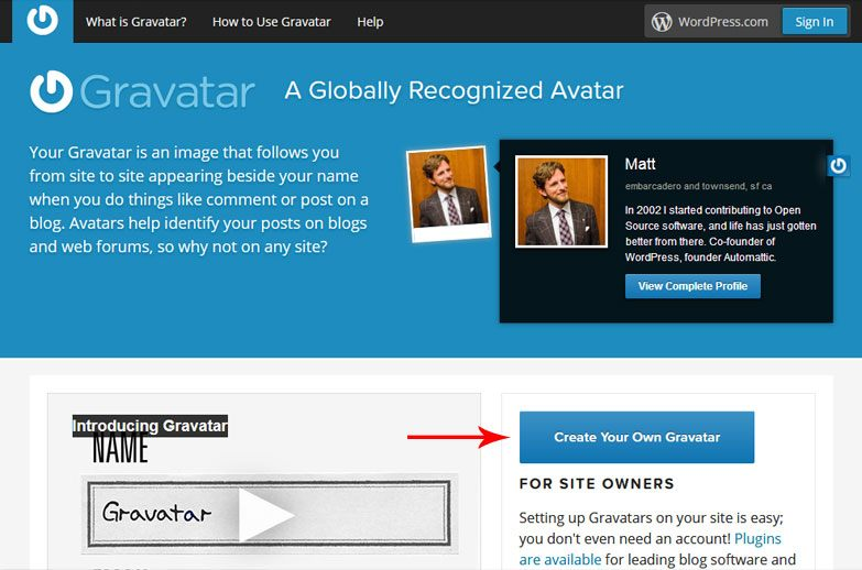 create your gravatar account
