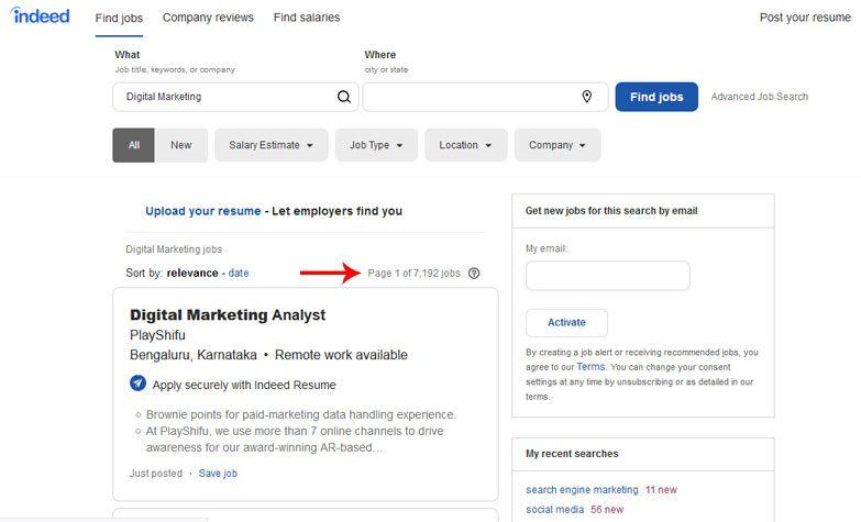 digital marketing jobs indeed job portal