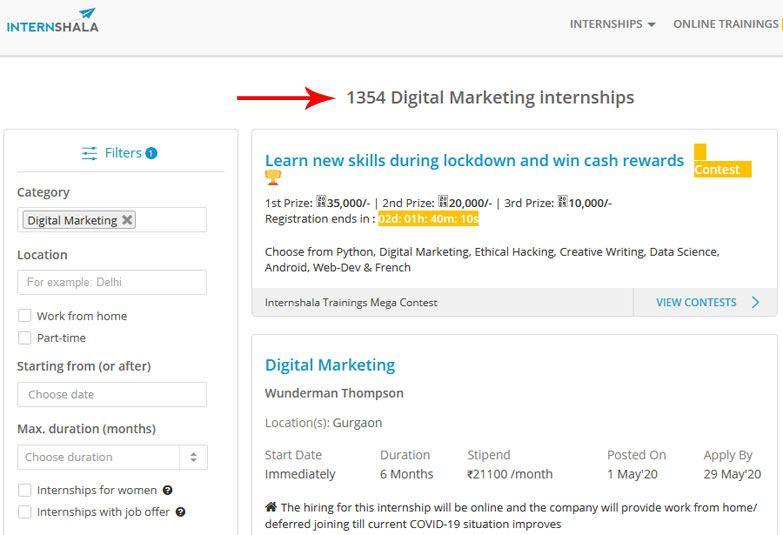 digital marketing jobs internshala job portal