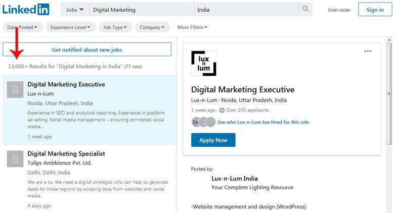 digital marketing jobs linkedin