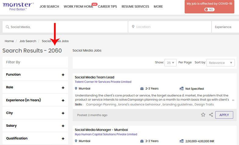 digital marketing jobs monster job portal