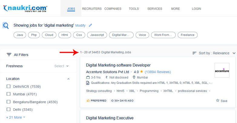 digital marketing jobs naukri job portal