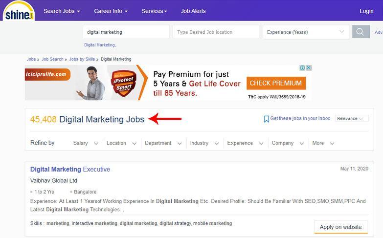 digital marketing jobs shine job portal