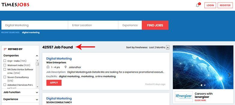 digital marketing jobs times jobs portal