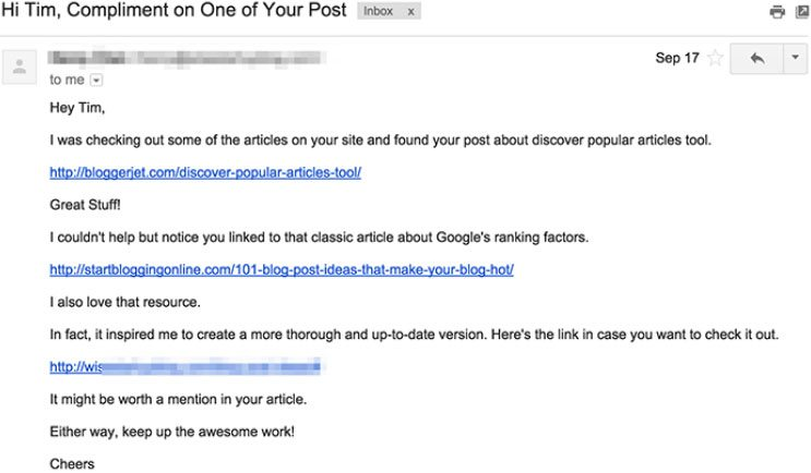 link email outreach bad subject line example